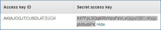 access key ID 和 secret access key