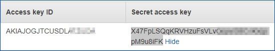 access key ID 和 secret access key