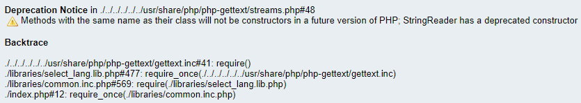 PHP gettext warnings