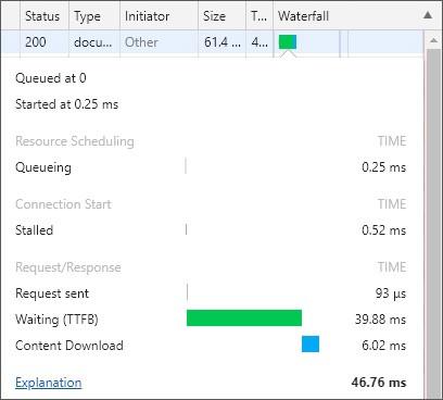 Chrome 測量 TTFB