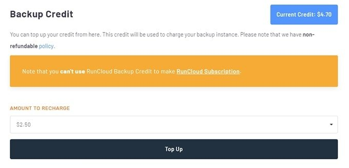 RunCloud Backup Credit