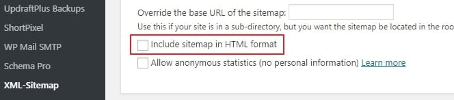 Include sitemap in HTML format